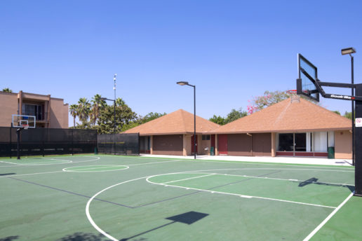 Basketball court with two hoops