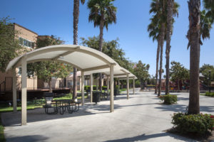 Outdoor seating areas under arched cabanas with grills, cement ground, and palm trees