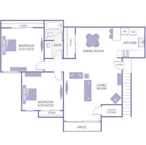 """2 bed 1 bath floor plan, Kitchen, dining room, living room, utility/storage closet, Bedroom 11' 11"""" x 12' 6"""", Bedroom 11' 8"""" x 10' 10"""""""