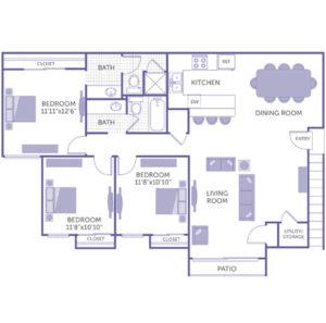 """3 bed 2 bath floor plan, Kitchen, Dining room, Living room, Utility closet, Patio, Bedroom 11' 11"""" x 12' 6"""", Bedroom 11' 8"""" x 10' 10"""", Bedroom 11' 8"""" x 10' 10"""", 4 closets"""